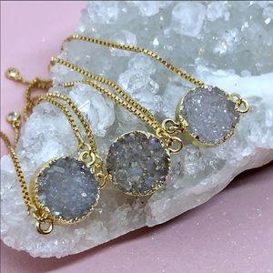 Jewelry - Handmade Druzy Gold Bolo Bracelet